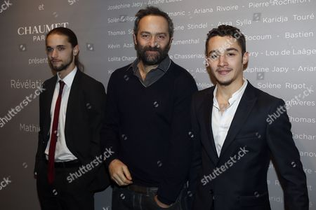 Stock Photo of French Actors Romain Depret (l) and Jules Ritmanic (r) and French Director Cedric Kahn (c) Pose For the Photographers During a Photocall For the Cesars 'Revelations 2015' Evening at the Salons Chaumet in Paris France 12 January 2015 the Event Organized by the French Academy of Cinema Arts and Techniques' Newcomers Committee and the Governing Board Presents the Best New Young Actors and Actresses the 40th Annual Cesar Awards Ceremony is Held on 20 February France Paris