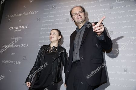 Stock Photo of French Actress Ariana Rivoire (l) and French Director Jean-pierre Ameris Pose For the Photographers During a Photocall For the Cesars 'Revelations 2015' Evening at the Salons Chaumet in Paris France 12 January 2015 the Event Organized by the French Academy of Cinema Arts and Techniques' Newcomers Committee and the Governing Board Presents the Best New Young Actors and Actresses the 40th Annual Cesar Awards Ceremony is Held on 20 February France Paris
