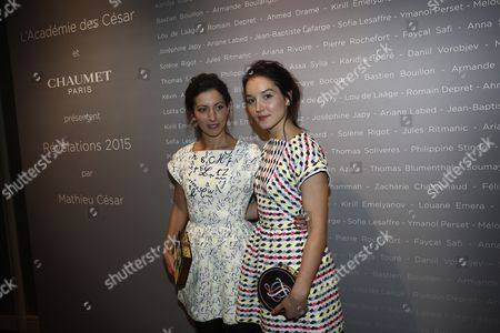 French Actresses Anna Sigalevitch (l) and Anais Demoustier Pose For the Photographers During a Photocall For the Cesars 'Revelations 2015' Evening at the Salons Chaumet in Paris France 12 January 2015 the Event Organized by the French Academy of Cinema Arts and Techniques' Newcomers Committee and the Governing Board Presents the Best New Young Actors and Actresses the 40th Annual Cesar Awards Ceremony is Held on 20 February France Paris
