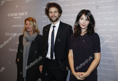 (l-r) French Filmmaker Nicole Garcia French Actor Pierre Rochefort and French Actress-director Zabou Breitman Pose For the Photographers During a Photocall For the Cesars 'Revelations 2015' Evening at the Salons Chaumet in Paris France 12 January 2015 the Event Organized by the French Academy of Cinema Arts and Techniques' Newcomers Committee and the Governing Board Presents the Best New Young Actors and Actresses the 40th Annual Cesar Awards Ceremony is Held on 20 February France Paris