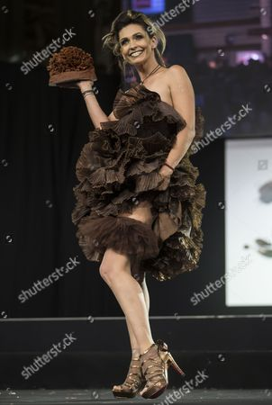 French Actress Adeline Blondieau Presents a Creation Made of Chocolate at the 20th 'Salon Du Chocolat' (paris Chocolate Fair) in Paris France 28 October 2014 the Fair Runs From 29 October to 02 November 2014 France Paris