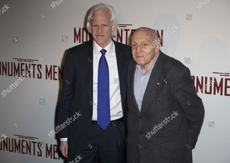 The Last Living Contemporary Witness and Original Member of the 'Monuments Men' Harry Ettlinger (r) and Us Writer Robert Morse Edsel (l) Pose For Photographers During the Premiere of 'The Monuments Men' in Paris France 12 February 2014 the Movie Opens in French Theaters on 12 March France Paris