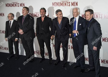 Stock Image of Cast Members (l-r) Us Actors Bob Balaban and John Goodman French Actor Jean Dujardin Us Actor/director George Clooney Us Writer Robert Morse Edsel and Us Actor Matt Damon Pose For Photographers During the Premiere of 'The Monuments Men' in Paris France 12 February 2014 the Movie Opens in French Theaters on 12 March France Paris