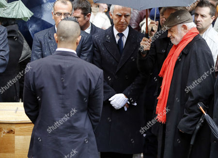 French Actor Jean-paul Belmondo (r) Looks at the Coffin of French Director Georges Lautner During the Funeral Ceremony Held at the Cathedral of Sainte Reparate in Nice Southern France 30 November 2013 Georges Lautner Died Aged 87 in Paris France on 22 November 2013 France Nice