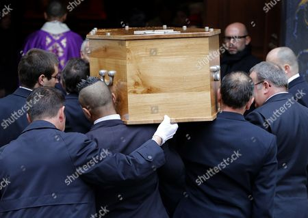 Men Carry the Coffin with the Remains of French Director Georges Lautner Into the Cathedral of Sainte Reparate During a Funeral Ceremony in Nice Southern France 30 November 2013 Georges Lautner Died Aged 87 in Paris France on 22 November 2013 France Nice