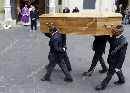 Men Carry the Coffin with the Remains of French Director Georges Lautner to the Cathedral of Sainte Reparate During a Funeral Ceremony in Nice Southern France 30 November 2013 Georges Lautner Died Aged 87 in Paris France on 22 November 2013 France Nice