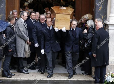 Men Carry the Coffin with the Remains of French Director Georges Lautner Ouside the Cathedral of Sainte Reparate As Mayor of Nice Christian Estrosi (l) Looks on During a Funeral Ceremony in Nice Southern France 30 November 2013 Georges Lautner Died Aged 87 in Paris France on 22 November 2013 France Nice