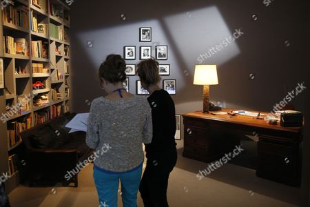 Stock Photo of People Visit the Exhibition 'Francois Truffaut' at the Cinematheque in Paris France 06 October 2014 This Exhibition Opens to the Public From 08 October to 25 January 2015 France Paris