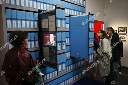 Visitors Look at Videos on Display During the Exhibition 'Francois Truffaut' at the Cinematheque in Paris France 06 October 2014 This Exhibition Opens to the Public From 08 October to 25 January 2015 France Paris