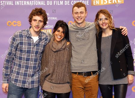 (l-r) French Actors Baptiste Lecaplain Reem Kherici Norman Thavaud and Laurence Arne Attend the Opening Ceremony of the 17th Annual International Comedy Film Festival in L'alpe D'huez France 15 January 2014 the Festival Runs From 15 to 19 January France Alpe D'huez