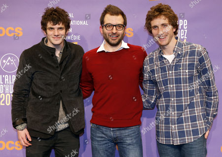 French Actor Felix Moati (l) French Producer Benjamin Guedj (c) and Actor Baptiste Lecaplain (r) Attend the Photocall For Their Movie 'Libre Et Assoupi' at the 17th Annual International Comedy Film Festival in L'alpe D'huez France 15 January 2014 the Festival Runs From 15 to 19 January France Alpe D'huez