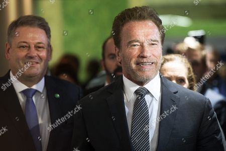 Former Us California Governor and Actor Arnold Schwarzenegger (r) and Austrian Environment Minister Andrae Rupprechter Arrive For a Meeting with French Foreign Affairs Minister Laurent Fabius During the Cop21 World Climate Change Conference 2015 in Le Bourget North of Paris France 08 December 2015 the 21st Conference of the Parties (cop21) is Held in Paris From 30 November to 11 December Aimed at Reaching an International Agreement to Limit Greenhouse Gas Emissions and Curtail Climate Change France Paris