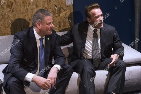 Former Us California Governor and Actor Arnold Schwarzenegger (r) Discusses with French Foreign Affairs Minister Laurent Fabius (unseen) and Austrian Environment Minister Andrae Rupprechter (l) During the Cop21 World Climate Change Conference 2015 in Le Bourget North of Paris France 08 December 2015 the 21st Conference of the Parties (cop21) is Held in Paris From 30 November to 11 December Aimed at Reaching an International Agreement to Limit Greenhouse Gas Emissions and Curtail Climate Change France Paris