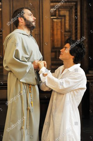 Nicolas Tennant (Friar) and Santiago Cabrera (Romeo) perform in the Middle Temple hall