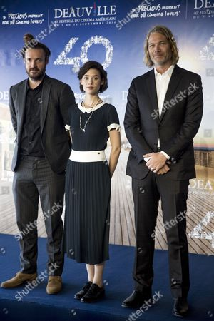 (l-r) Us Director Mike Cahill French Actress Astrid Berges-frisbey and Us Producer Hunter Gray Pose at a Photocall For 'I Origins' During the 40th Annual Deauville American Film Festival in Deauville France 11 September 2014 the Movie is Presented in the Official Competition of the Festival That Runs From 05 to 14 September France Deauville