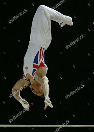 British Gymnast Sam Oldham Performs in the Horizontal Bar Competition During the Men's Apparatus Final at the European Artistic Gymnastic Championships in Montpellier France 19 April 2015 France Montpellier
