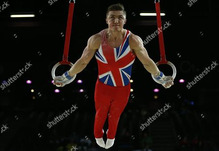 British Gymnast Sam Oldham Performs on the Rings During the All-round Final at the Men's European Artistic Gymnastic Championships in Montpellier France 17 April 2015 the European Artistic Gymnastics Championships Which Take Place From 13 Through 19 April 2015 in Montpellier France Montpellier