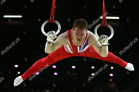 British Gymnast Daniel Purvis Performs on the Rings During the All-round Final at the Men's European Artistic Gymnastic Championships in Montpellier France 17 April 2015 the European Artistic Gymnastics Championships Which Take Place From 13 Through 19 April 2015 in Montpellier France Montpellier