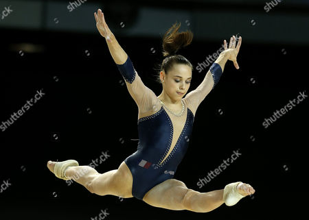 French Gymnast Claire Martin Performs in the Women's Balance Beam Final at the Women's European Artistic Gymnastic Championships in Montpellier France 19 April 2015 France Montpellier