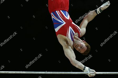 British Gymnast Daniel Purvis Performs on the Horizontal Bar During the All-round Final at the Men's European Artistic Gymnastic Championships in Montpellier France 17 April 2015 the European Artistic Gymnastics Championships Which Take Place From 13 Through 19 April 2015 in Montpellier France Montpellier