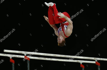 British Gymnast Daniel Purvis Performs on the Parallel Bars During the All-round Final at the Men's European Artistic Gymnastic Championships in Montpellier France 17 April 2015 the European Artistic Gymnastics Championships Which Take Place From 13 Through 19 April 2015 in Montpellier France Montpellier
