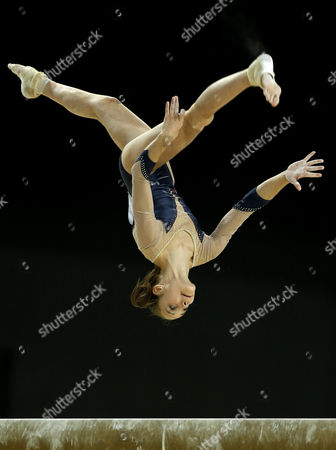 Stock Picture of French Gymnast Claire Martin Performs in the Women's Balance Beam Final at the Women's European Artistic Gymnastic Championships in Montpellier France 19 April 2015 France Montpellier