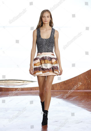 Belgian Model Ine Neefs Presents a Creation From the Cruise 2016 Collection by Christian Dior Fashion House at the Palais Bulles in Theoule-sur-mer France 11 May 2015 Belgian Designer Raf Simons Hosts His 2016 Resort Show For Dior at Pierre Cardin's Iconic House Near Cannes Ahead of the 68th Annual Cannes Film Festival Which Will Run From 13 to 25 May France Theoule Sur Mer