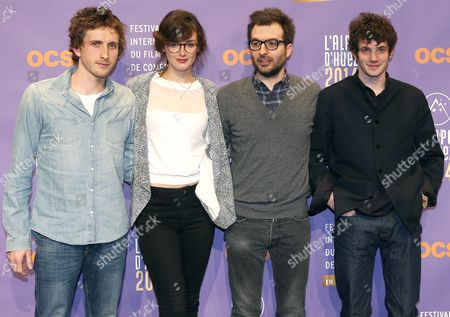 (l-r) French Actors Baptiste Lecaplain Charlotte Le Bon French Producer Benjamin Guedj and French Actor Felix Moati Attend the Photocall For Their Movie 'Libre Et Assoupi' at the 17th Annual International Comedy Film Festival in L'alpe D'huez France 16 January 2014 the Festival Runs From 15 to 19 January France Alpe D'huez