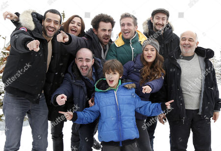French Actors (l-r) Tarek Boudali Charlotte Gabris French Producer Nicolas Benamou French Actors Julien Arruti Philippe Lacheau Alice David Vincent Desagna Gerard Jugnot and Enzo Tomasini Attend the Photocall For Their Movie 'Babysitting' at the 17th Annual International Comedy Film Festival in L'alpe D'huez France 17 January 2014 the Festival Runs From 15 to 19 January Epa/sebastien Nogier France Alpe D'huez