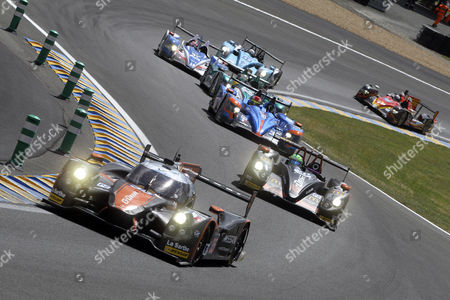 Stock Image of Oak Racing (front) in a Ligier Js P2 Nissan with Alex Brundle of Great Britain Jann Mardenborough of Great Britain and Mark Shulzhitskly of Russia Compete in the Le Mans 24 Hours Race in Le Mans France 14 June 2014 the Race Started at 3pm and is Scheduled to Finish at 3pm on the 15th France Le Mans
