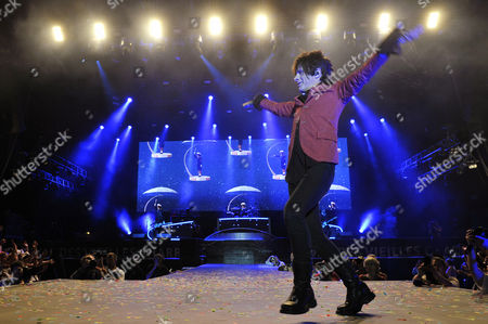 Frontman Nicola Sirkis of French Band Indochine Performs During a Concert at the Vieilles Charrues Festival in Carhaix France 17 July 2014 the Event Runs From 17 to 20 July France Carhaix