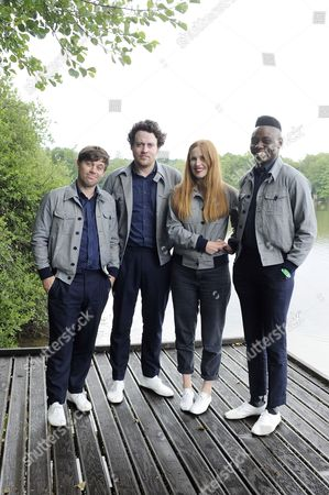 A Photo Made Available 05 July 2014 of British Electro-pop Band 'Metronomy' with (l-r) Keyboarder Oscar Cash Leadsinger Joseph Mount Drummer Anna Prior and Bassist Gbenga Adelekan Posing For a Photo Call by the Lake at the 26th Eurockeennes Festival in Belfort France 04 July 2014 the Music Festival Runs From 04 to 06 July 2014 France Belfort