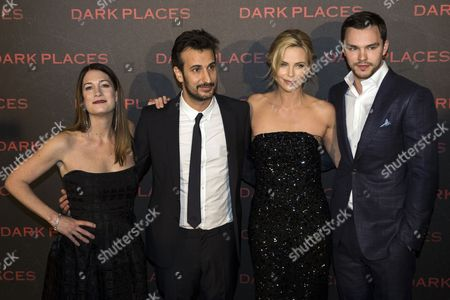 (l-r) Us Author Gillian Flynn French Director Gilles Paquet-brenner South African Actress/cast Member Charlize Theron and British Actor/cast Member Nicholas Hoult Arrive For the Premiere of 'Dark Places' at Cinema Gaumont Capucine in Paris France 31 March 2015 the Movie Will Be Released in French Theaters on 08 April France Paris