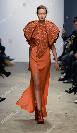 A Model Presents a Creation From the Spring/summer 2015 Haute Couture Collection by Dutch Fashion Designer Ilja Visser For Ilja During the Paris Fashion Week in Paris France 28 January 2015 the Presentation of the Women's Haute Couture Collections Runs From 26 to 29 January France Paris