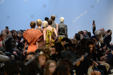 Models Present Creations From the Spring/summer 2015 Haute Couture Collection by Dutch Fashion Designer Ilja Visser For Ilja During the Paris Fashion Week in Paris France 28 January 2015 the Presentation of the Women's Haute Couture Collections Runs From 26 to 29 January France Paris