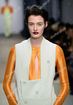 Stock Picture of A Model Presents a Creation From the Spring/summer 2015 Haute Couture Collection by Dutch Fashion Designer Ilja Visser For Ilja During the Paris Fashion Week in Paris France 28 January 2015 the Presentation of the Women's Haute Couture Collections Runs From 26 to 29 January France Paris