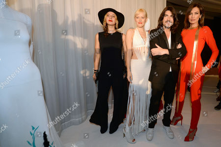 Stock Photo of French Designer Stephane Rolland (2-r) Poses with Filmmaker Diane Sagnier (l) Actress Anna Sherbinina (2-l) and Spanish Model Nieves Alvarez (r) During the Presentation of His Haute Couture Fall-winter 2014/15 Collection During the Paris Fashion Week in Paris France 08 July 2014 the Presentation of the Haute Couture Collections Runs From 6 to 11 July France Paris