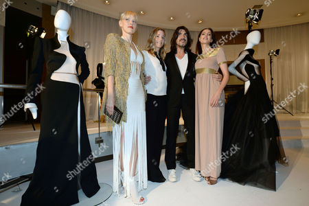 French Designer Stephane Rolland (2-r) Poses with Actresses Anna Sherbinina (l) Natacha Regnier (2-l) and Frederique Bel (r) During the Presentation of His Haute Couture Fall-winter 2014/15 Collection During the Paris Fashion Week in Paris France 08 July 2014 the Presentation of the Haute Couture Collections Runs From 6 to 11 July France Paris