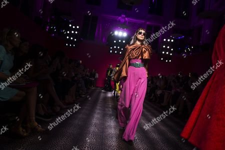 Russian Model Kati Nescher Presents a Creation From the Haute Couture Fall-winter 2014/15 Collection by Italian Designer Marco Zanini For Schiaparelli Fashion House During the Paris Fashion Week in Paris France 07 July 2014 the Presentation of the Women's Haute Couture Collections Runs From 06 to 10 July France Paris