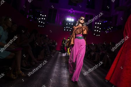 Stock Photo of Russian Model Kati Nescher Presents a Creation From the Haute Couture Fall-winter 2014/15 Collection by Italian Designer Marco Zanini For Schiaparelli Fashion House During the Paris Fashion Week in Paris France 07 July 2014 the Presentation of the Women's Haute Couture Collections Runs From 06 to 10 July France Paris