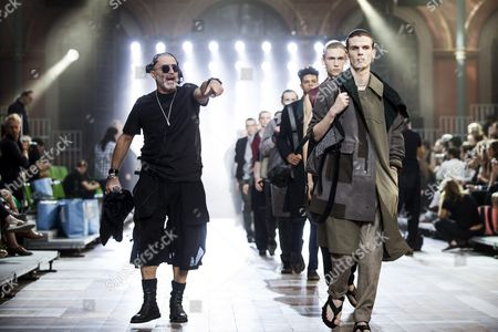 Brussels-based Fashion Producer Etienne Russo (l) Directs the Models Prior to the Spring/summer 2016 Menswear Collection Show by Us Designer Alber Elbaz and Dutch Designer Lucas Ossendrijver of the French Fashion House Lanvin During the Paris Men's Fashion Week in Paris France 28 June 2015 the Presentation of the Mens Collections Runs From 24 to 28 June France Paris