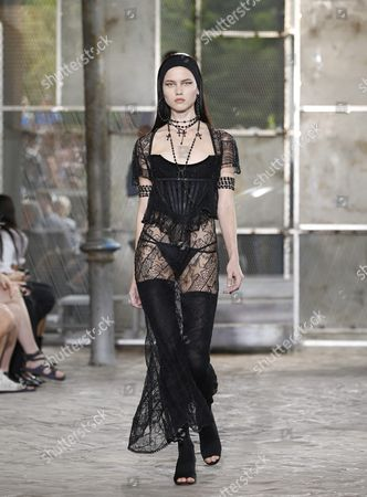 Stock Image of Model Isis Bataglia Presents a Creation From the Spring/summer 2016 Menswear Collection by Italian Designer Riccardo Tisci For Givenchy During the Paris Men's Fashion Week in Paris France 26 June 2015 the Presentation of the Men's Collections Runs From 24 to 28 June France Paris