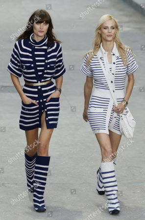 French Model Aymeline Valade (r) and Australian Model Catherine Mcneil (l) Present Creations From the Spring/summer 2015 Ready to Wear Collection by German Designer Karl Lagerfeld For Chanel During the Paris Fashion Week in Paris France 30 September 2014 the Presentation of the Women's Collections Runs From 23 September to 01 October France Paris