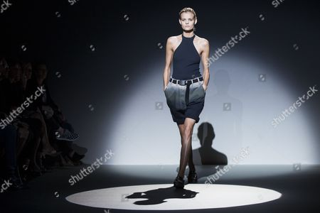 A Model Presents a Creation During the Spring/summer 2015 Ready to Wear Collection by Russian Designer Olga Sorokina For Irfe Fashion House During the Paris Fashion Week in Paris France 26 September 2014 the Presentation of the Women's Collections Runs From 23 September to 01 October France Paris