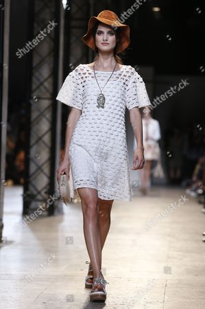 A Model Presents a Creation During the Spring/summer 2015 Ready to Wear Collection by French Designer Sophie Albou For Paul and Joe Fashion House During the Paris Fashion Week in Paris France 30 September 2014 the Presentation of the Women's Collections Runs From 23 September to 01 October France Paris
