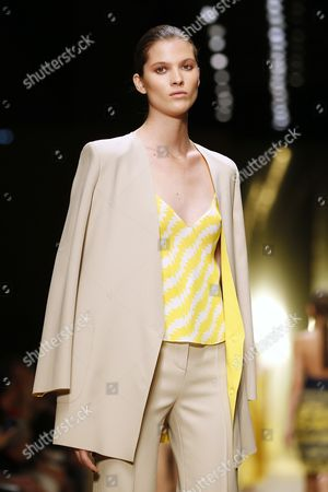 A Model Presents a Creation From the Spring/summer 2015 Ready to Wear Collection by French Designer Marcel Marongiu For Guy Laroche Fashion House During the Paris Fashion Week in Paris France 24 September 2014 the Presentation of the Women's Collections Runs From 23 September to 01 October France Paris