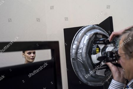 A Model is Photographed Backstage Prior to the Presentation of the Spring/summer 2015 Ready to Wear Collection by French Designer Marcel Marongiu For Guy Laroche Fashion House During the Paris Fashion Week in Paris France 24 September 2014 the Presentation of the Women's Collections Runs From 23 September to 01 October France Paris