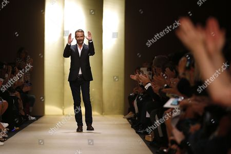 French Designer Marcel Marongiu Acknowledges the Audience After His Spring/summer 2015 Ready to Wear Collection For Guy Laroche Fashion House During the Paris Fashion Week in Paris France 24 September 2014 the Presentation of the Women's Collections Runs From 23 September to 01 October France Paris