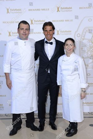 French Chef Christophe Raoux (l) Spanish Tennis Player Rafael Nadal (c) and Spanish Chef Elena Arzak (r) Pose For the Photographers During a Photocall For the Gala For the Rafa Nadal Foundation in Paris France 23 May 2015 Created in 2007 the Foundation Aims to Help Socially Discriminated Children and Teenagers Through Educational Programs with Sport As a Common Denominator France Paris
