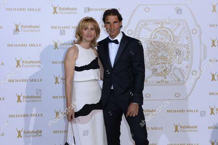 Spanish Tennis Player Rafael Nadal (r) and His Mother Ana Maria Parera (l) Pose For the Photographers During a Photocall For the Gala For the Rafa Nadal Foundation in Paris France 23 May 2015 Created in 2007 the Foundation Aims to Help Socially Discriminated Children and Teenagers Through Educational Programs with Sport As a Common Denominator France Paris
